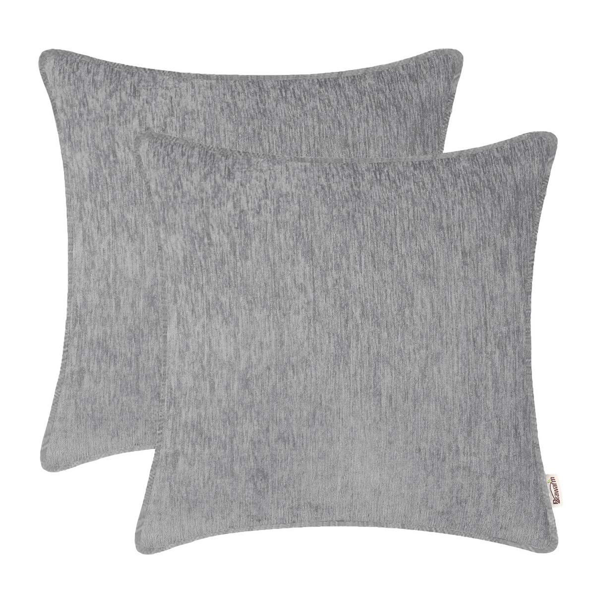 BRAWARM Pack of 2 Cozy Throw Pillow Covers Cases for Sofa Couch Home Decoration Solid Dyed Striped Soft Chenille with Piping 22 X 22 Inches Neutral Gray
