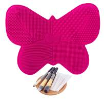 Makeup Brush Cleaning Mat Silicone Cosmetics Brush Cleaner Butterfly Shape Makeup Brush Cleaning Pad with Suction Cups + 10 Pcs Makeup Brush Protector (Rose Red)
