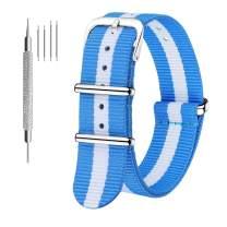 CIVO Watch Bands NATO Premium Ballistic Nylon Watch Strap Stainless Steel Buckle (Sky/Ivory, 22mm)
