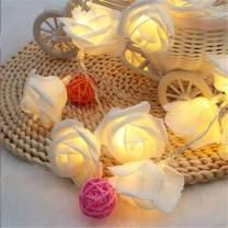 Mother's Day Decorations, Roses LED String Lights with Battery Operated, 10FT 20 LEDs Artificial Flowers Fairy Lights for Valentine's Day, Wedding, Room, Festival Party Decor (White Rose)