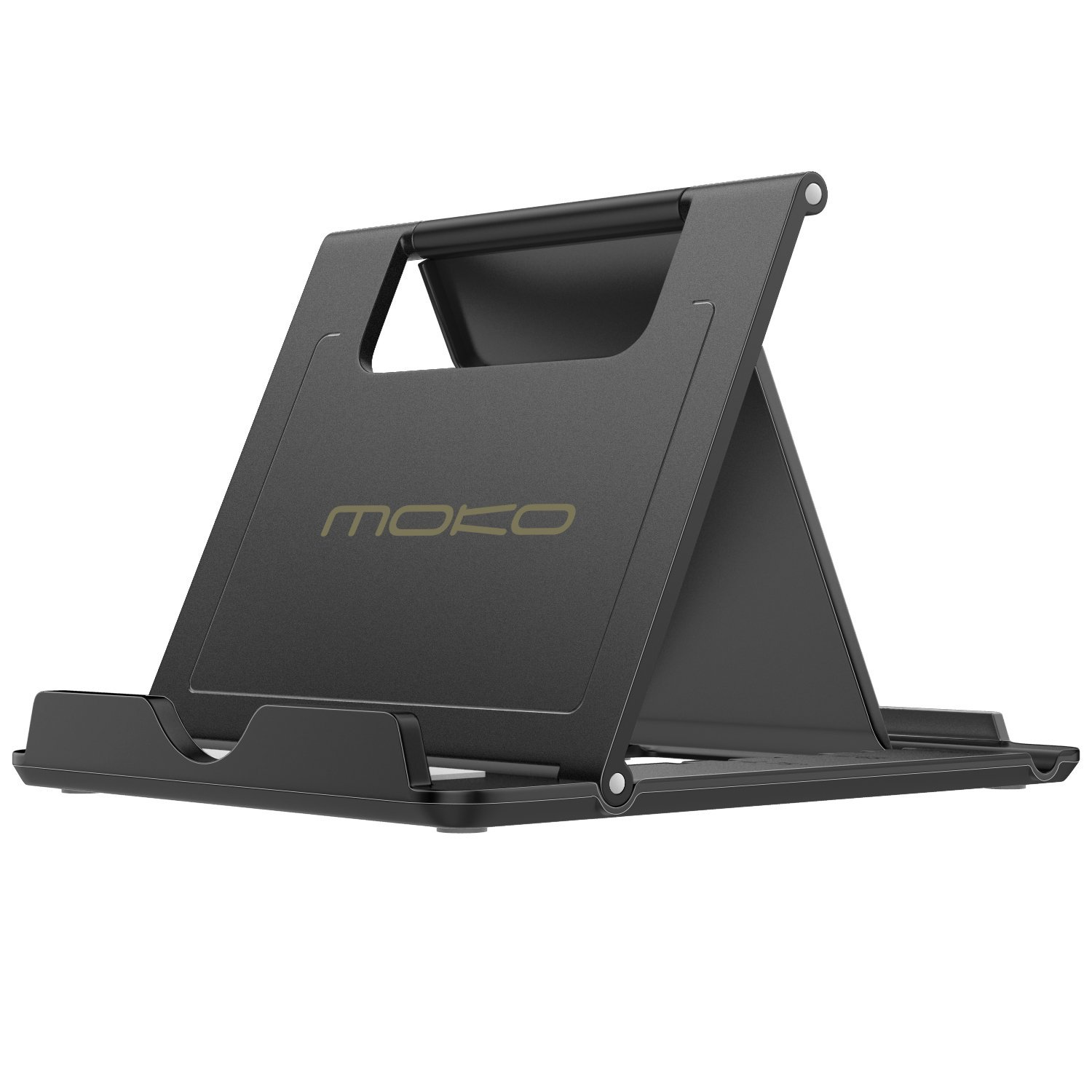 """MoKo Phone/Tablet Stand, Foldable Desktop Holder Fit with iPhone 11 Pro Max/11 Pro/11, iPhone Xs/Xs Max/Xr/X, iPhone SE 2020, iPad Pro 11 2020/10.2/Air 3/Mini 5, Galaxy S20 6.2"""", Black(Large Size)"""