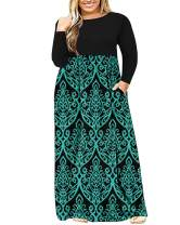 AUSELILY Women's Plus Size Long Sleeve Loose Plain Casual Long Maxi Dresses with Pockets