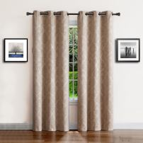 """Warm Home Designs 1 Pair (2 Panels) of Light Taupe (Beige) Insulated Thermal Blackout Curtains with Embossed Textured Flower Pattern. Each Grommet Top Window Panel Is 38"""" X 96"""" in Size. EV Taupe 38x96"""