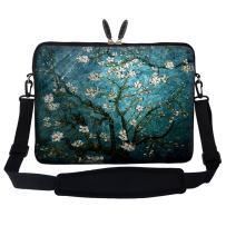 Meffort Inc 14 14.1 Inch Neoprene Laptop Sleeve Bag Carrying Case with Hidden Handle and Adjustable Shoulder Strap (Vincent Van Gogh Almond Blossom)