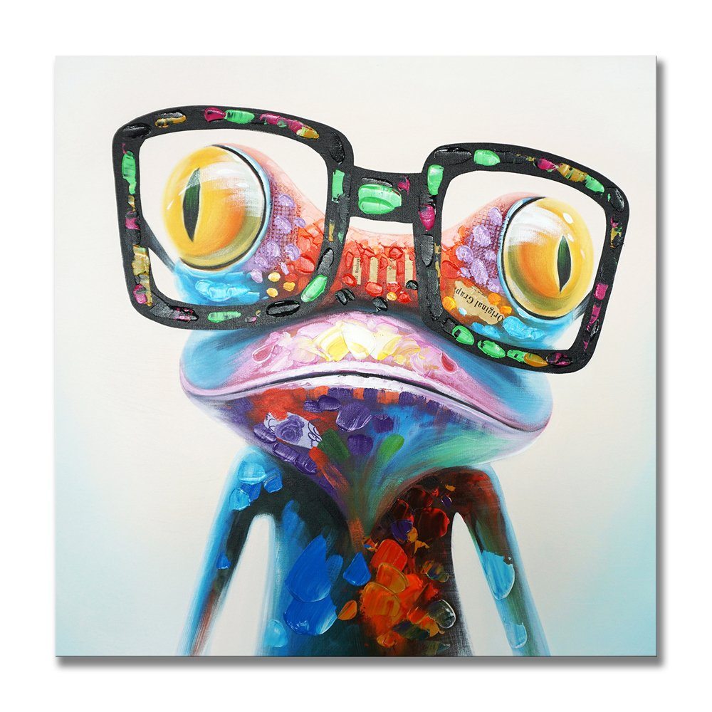 SEVEN WALL ARTS - 100% Hand Painted Oil Painting Cute Animal Frog Painting Colorful Happy Frog with Glasses Artwork for Living Room Kids Room Decor 32 x 32 Inch
