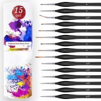 Electype Detail Paint Brush Set, 15pcs Fine Miniature Painting Brushes Kit with Ergonomic Wood Handles, Travel Bag, Mini Paint Brush Set for Acrylic, Watercolor, Oil, Face,Nail,Scale Model Painting