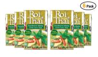 ROI THAI, Ready to cook, Thai Green curry soup, Curry sauce, Simmer sauce, Instant curry sauce, Curry paste with coconut milk, Thai food, 8.4 OZ (Green Curry, Pack 6)
