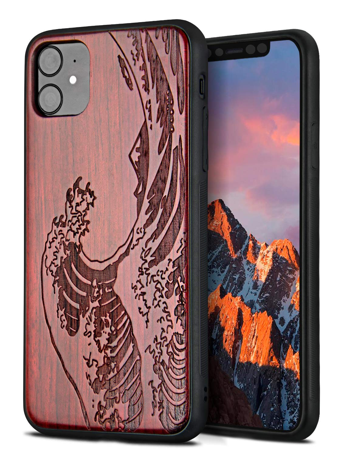 YFWOOD Compatible for iPhone 11 Case 6.1 inch, Unique Wood Shockproof Drop Proof Bumper Protection Cover for iPhone 11 (Wave)