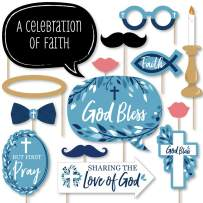 Big Dot of Happiness Blue Elegant Cross - Boy Religious Party Photo Booth Props Kit - 20 Count