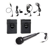 Movo WMIC60 2.4GHz Wireless Lavalier and Handheld Microphone System with Integrated 164-foot Range Antenna (Includes Transmitter with Belt Clip, Receiver with Camera Shoe, Lapel Mic and 2 Earphones)
