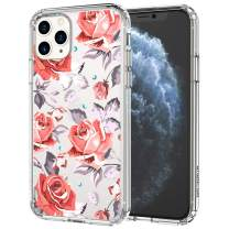MOSNOVO iPhone 11 Pro Case, Retro Floral Flower Roses Pattern Printed Clear Design Transparent Plastic Hard Back Case with TPU Bumper Protective Case Cover for iPhone 11 Pro