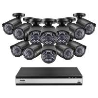 ZOSI 16 Channel Video Surveillance System,1080p Lite Security DVR 16 Channel(No HDD) with (12) 1080p FHD CCTV Bullet Camera Outdoor/Indoor,Remote Access, Customizable Motion Detection