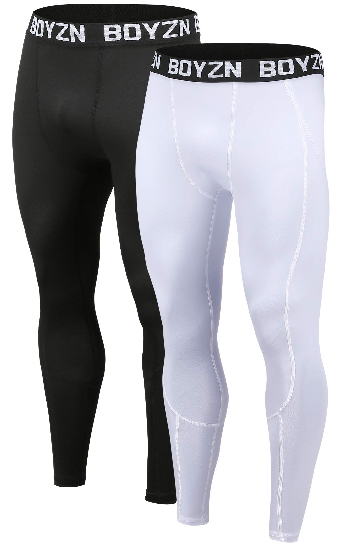 Boyzn Men's 2 Pack Sports Compression Pants Cool Dry Active Base Layer Tights Workout Running Leggings