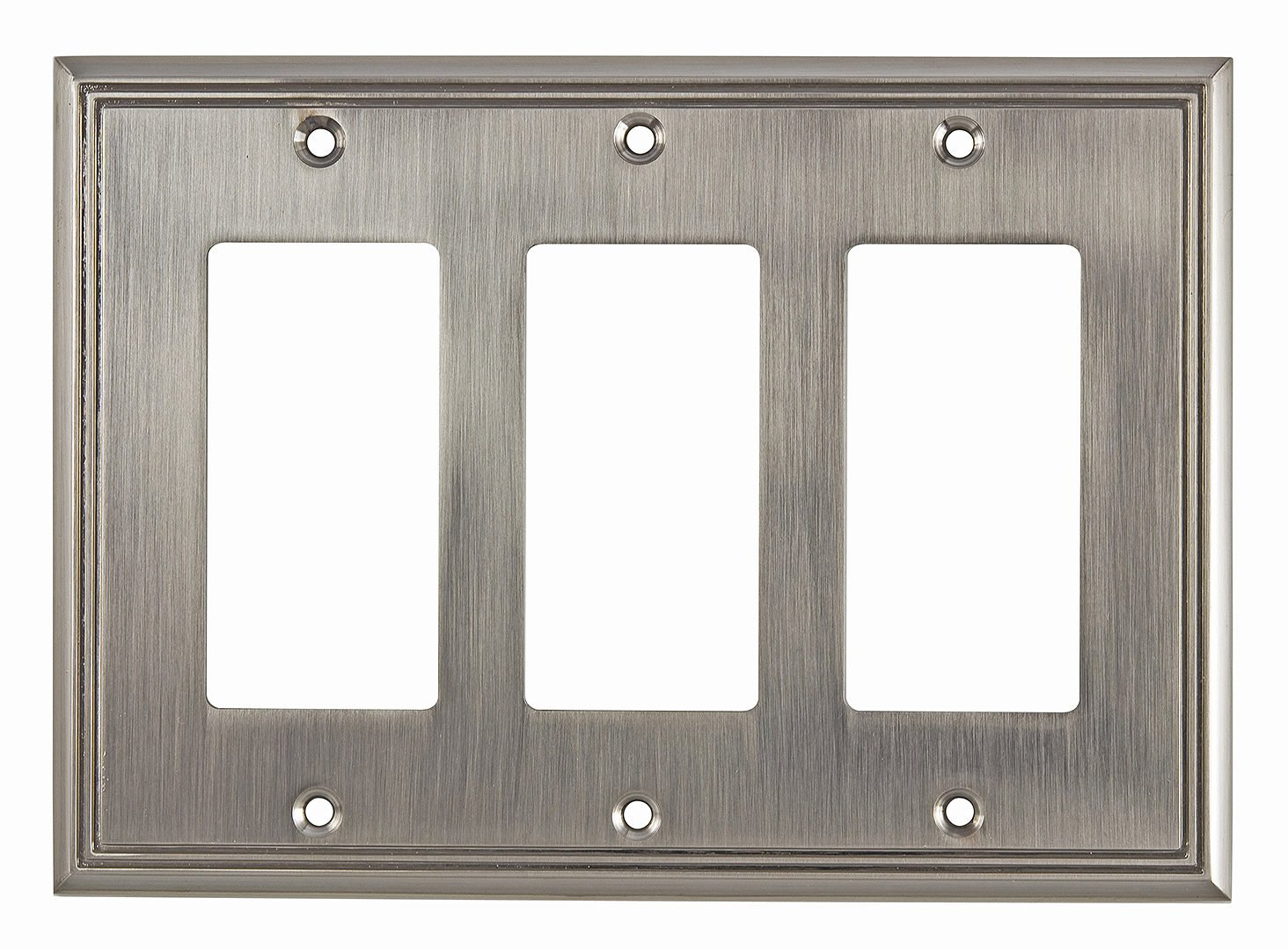 """Richelieu Hardware Contemporary Style 3 Decora Switch Plate, 4.84"""", Brushed Nickel"""