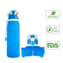 iKiKin Silicone Collapsible Water Bottle, BPA Free, Leak Proof, FDA Approved, Foldable Portable Sports Outdoor Travel Camping Picnic School,1000ml 1L 35OZ