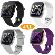 JuQBanke 4 Pack Band Compatible with Fitbit Versa 2 Fitbit Versa Lite SmartWatch for Women Men, Soft Silicone Sport Replacement Wristband Strap Small Large for Fitbit Versa Family