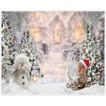 Allenjoy 10x8ft Winter Christmas Backdrop for Photography Snowman Pine Tree Snowflake Portrait White Background Newborn 1st Birthday Children Baby Shower Party Decorations Photo Shoot Props Supplies