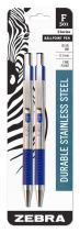 Zebra F-301 Ballpoint Stainless Steel Retractable Pen, Fine Point, 0.7mm, Blue Ink, 2-Count