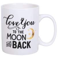 I Love You To The Moon & Back Stars Design White 15 Ounce Ceramic Coffee Mug