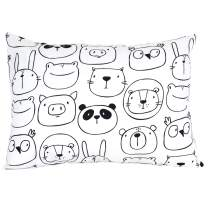 "ADDISON BELLE 100% Organic Toddler Pillowcase Fits Both 13""x18"" and 14""x19"" Pillows - Soft, Durable & Breathable (Monochrome Animals)"