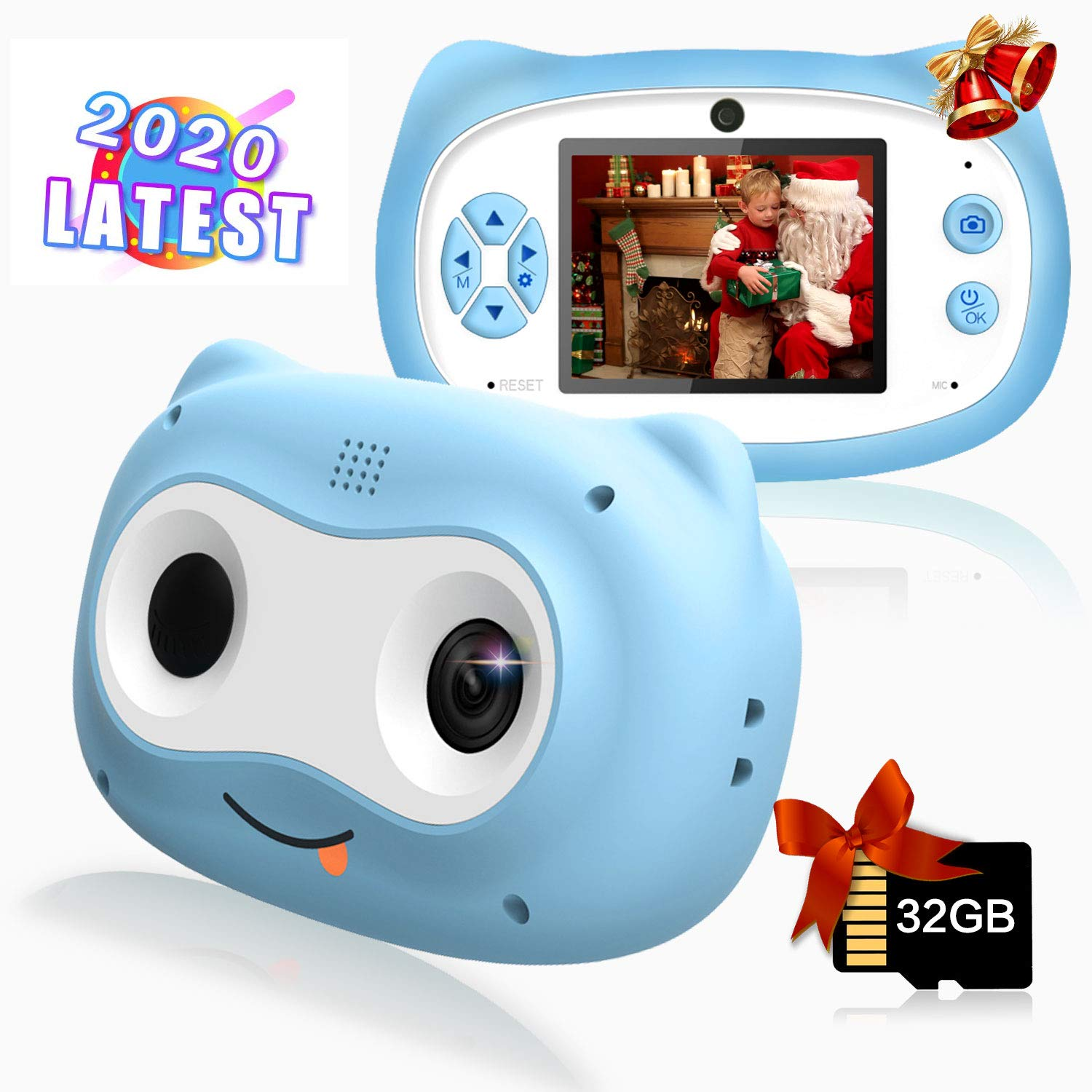 Kids Camera, 8 MP Digital Camera for Kids 3-10 Years Old, 1080P HD Shockproof Rechargeable Video Camera with 32GB Memory Card for Girls Boys Toddler Indoor Outdoor Travel, Blue