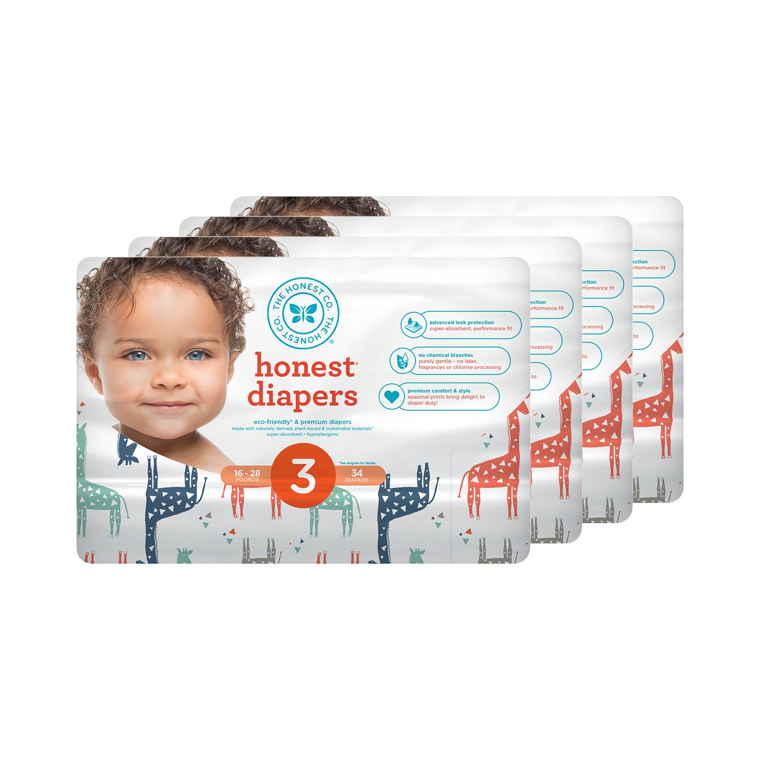 Honest Baby Diapers, Multi Colored Giraffes, Size 3 (136 Count)