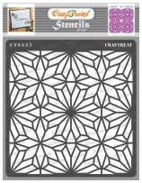 CrafTreat Geometric Pattern Stencils for Painting on Wood, Tile, Canvas, Paper, Fabric and Floor - Geometric Flowers Stencil - 6x6 Inches - Reusable DIY Art and Craft Stencils Pattern for Painting