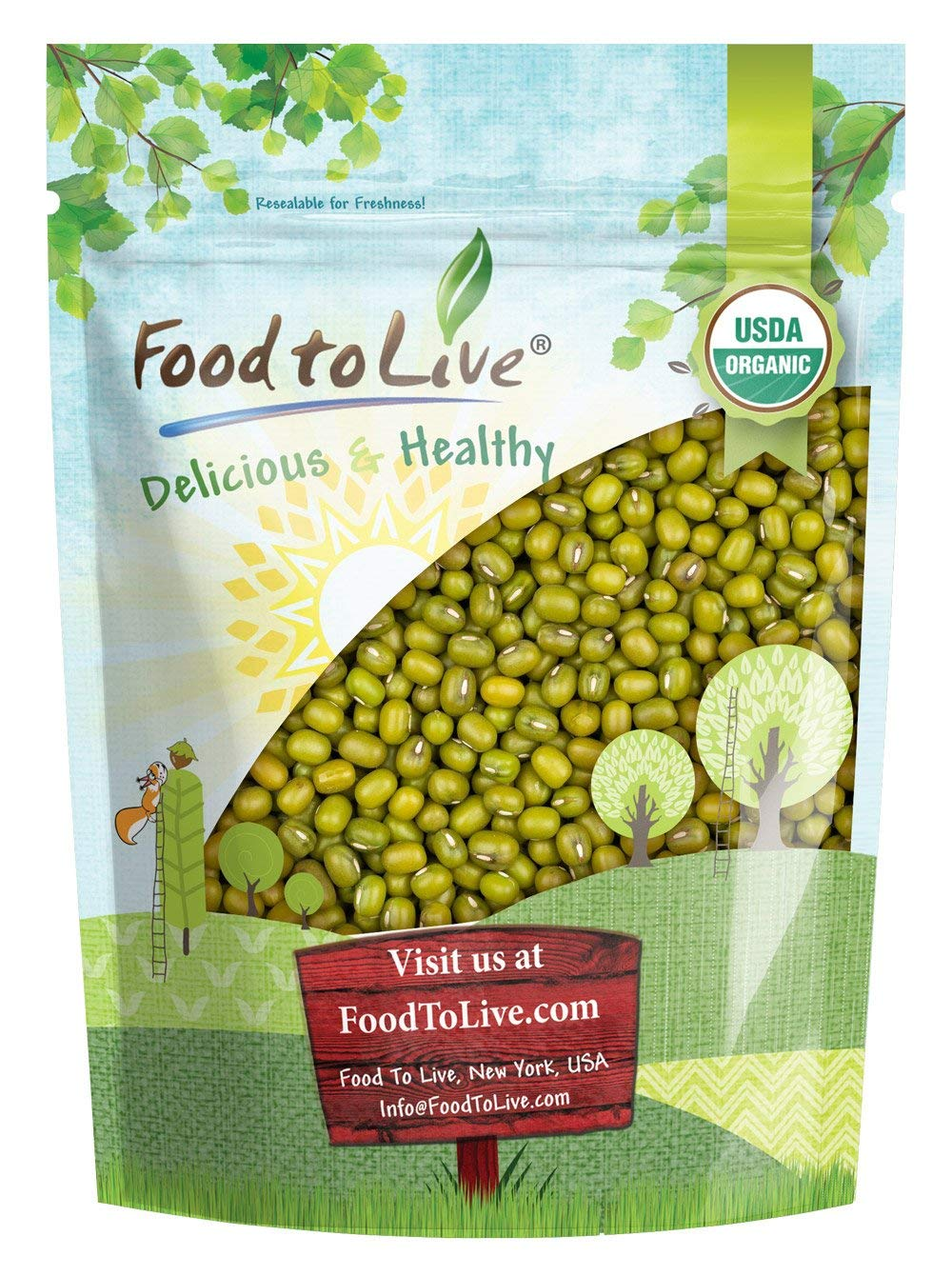 Certified Organic Mung Beans by Food to Live (Sprouting, Non-GMO, Kosher, Bulk) — 3 Pounds