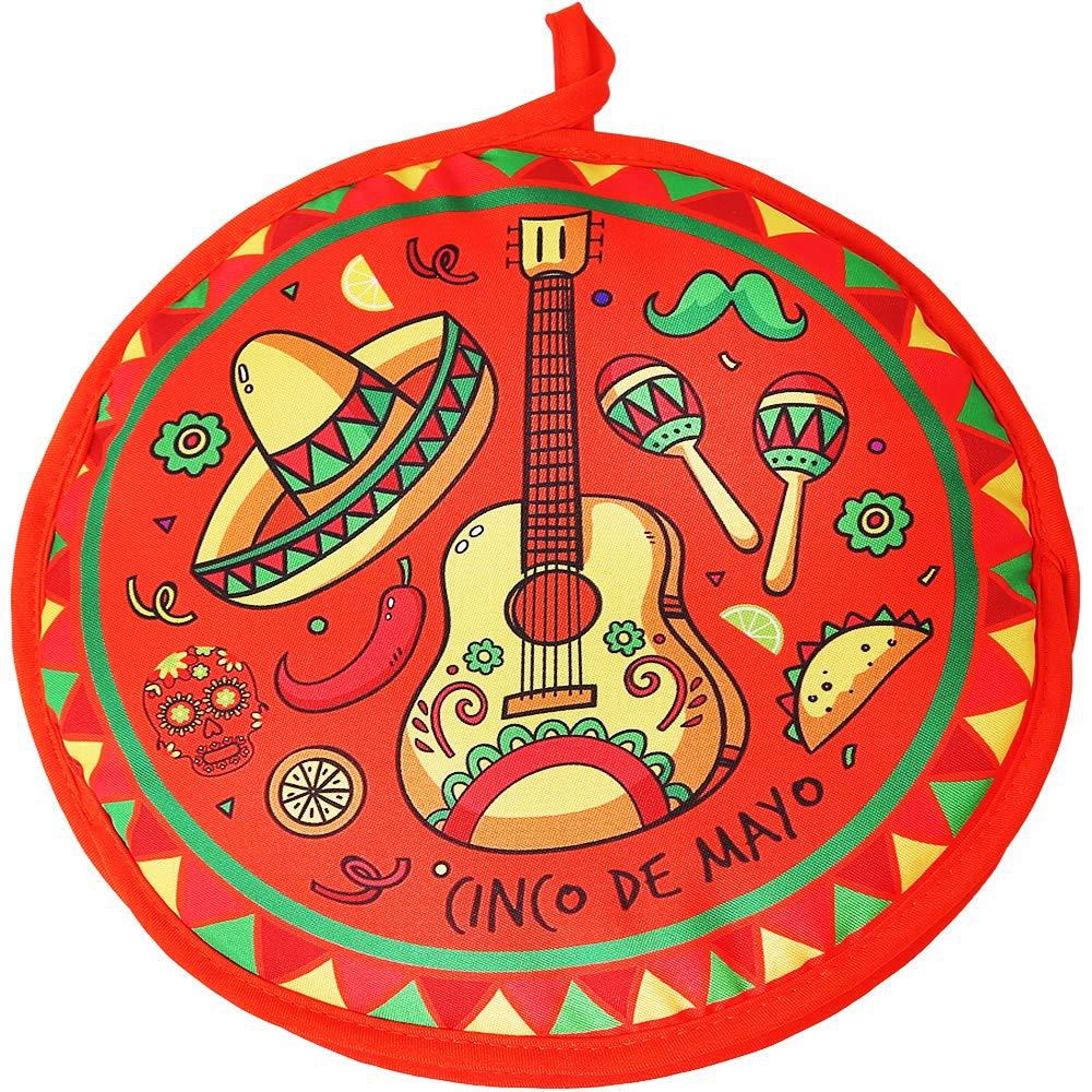 DOKKIA Tortilla Warmer Taco 12 Inch Insulated Cloth Pouch - Microwavable Use Fabric Bag to Keep Food Warm (12 Inch, Cinco De Mayo Guitar Sombrero Maracas)
