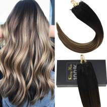 Sunny Extensions Human Hair Natural Remy Micro Ring Hair Extensions Human Hair #1B Natural Black Root to Dark Brown Mixed Dark Ash Blonde Real Human Hair Extensions for Women(18inch 50g/pack)
