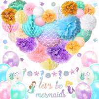 NICROLANDEE Mermaid Party Supplies - 39PCS Under The Sea Theme Decor With Glitter Garland Banner Lantern Honeycomb Ball Paper Pom Poms Balloon for Girl's Birthday Baby Shower Bridal Shower Engagements