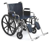 "Medline Excel Extra-Wide Wheelchair, 20"" Wide Seat, Desk-Length Arms, Elevating Legrests, Chrome Frame"