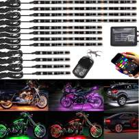 12Pcs Motorcycle LED Light Kit Strips Multi-Color Accent Glow Neon Lights Motorcycle Cellphone app waterproof Bluetooth Controller with Wireless remote led motorcycle atv club car lights Music Sync