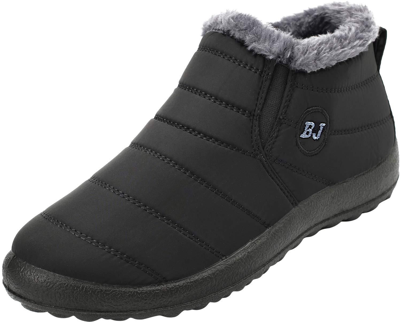 L-RUN Womens Winter Snow Boots Casual Outdoor Snow Shoes Waterproof Footwear Black 6.5 M US