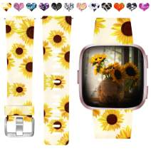 Maledan Compatible with Fitbit Versa/Versa 2/Versa Lite Bands for Women Girls, Water Resistant Strap Printed Pattern Wristband Replacement Band for Fitbit Versa Smart Watch, Large Sunflower