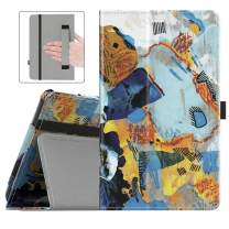 Dadanism Folio Case Fits All-New Amazon Kindle Fire 7 Tablet (9th Generation, 2019 Release Only), Premium PU Leather Lightweight Slim Shockproof Smart Stand Cover with Auto Wake/Sleep - Abstract Art