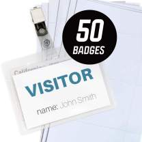 OS Plus Clip Name Badge, Clear Plastic Horizontal Name Tag Badge ID Card Holders & Metal ID Badge Holder Clips, 50 Pack