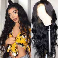 Brazilian Body Wave Lace Front Human Hair Wigs 13x4 Lace Frontal Wigs Pre-Plucked Natural Hairline 150% Density Short Human Hair Wigs For Black Women by LS hair(12 inch,natural color)