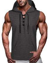 COOFANDY Men's Workout Hooded Tank Tops Sleeveless Gym Hoodie Cut Off T Shirt Lace-up Bodybuilding Muscle Hoodie