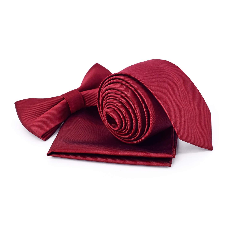3 Pk Necktie Pocket Square Bow Tie Sets for Men Boys Formal Solid Color & Gift Box