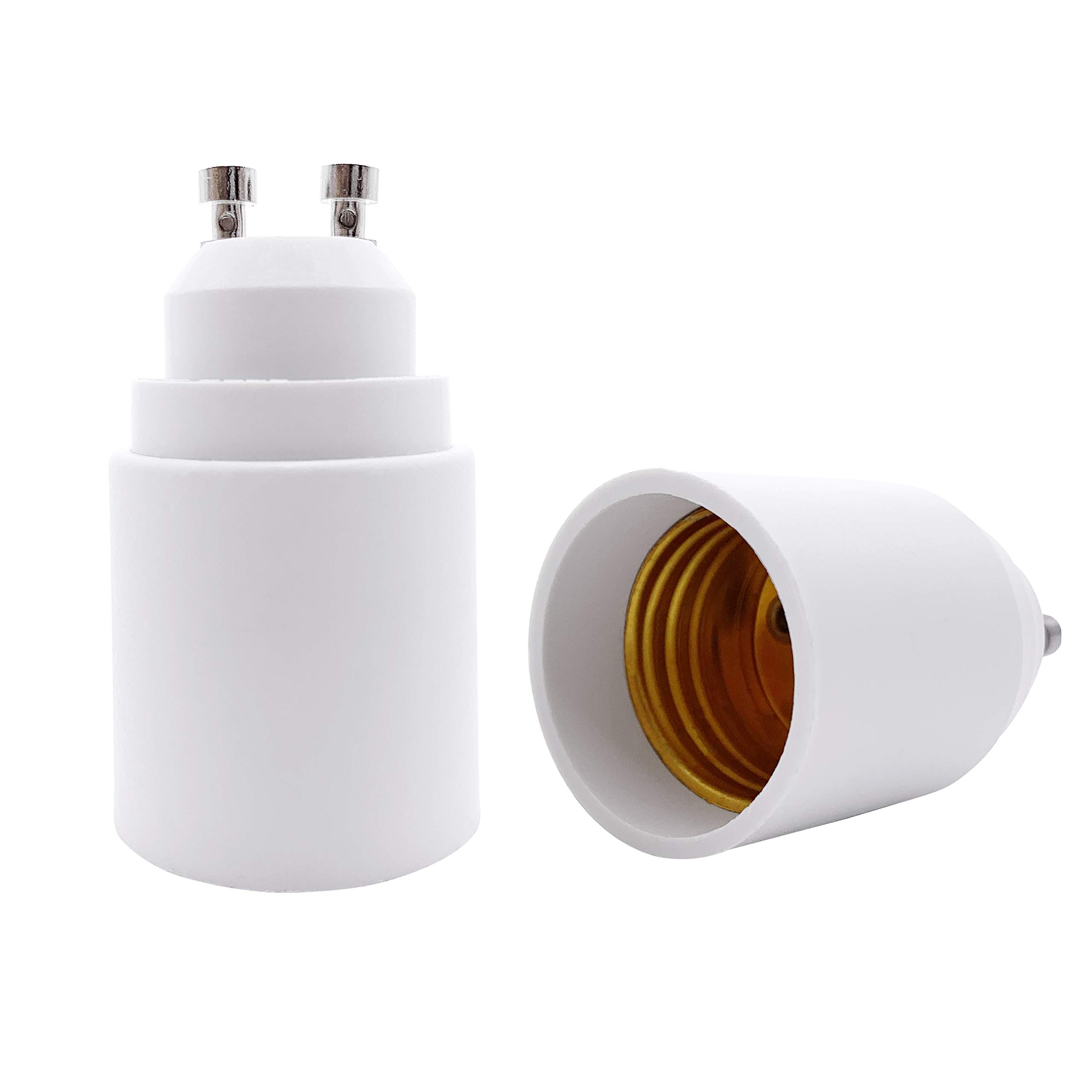 YAYZA! 2-Pack GU10 to E26 E27 Bulb Base Adapter, GU10 Bi-Pin Connector to Medium Edison Screw Light Socket Converter, Heat Resistant Up to 200℃ No Fire Hazard
