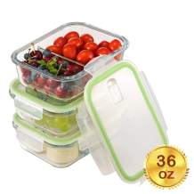 Glass Meal Prep Containers 2 Compartment with Lids[3-Pack, 36oz],Airtight Glass lunch Containers,Glass Food Storage Containers, Microwave, Oven, Freezer, Dishwasher Safe