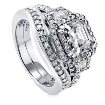 BERRICLE Rhodium Plated Sterling Silver Asscher Cut Cubic Zirconia CZ Art Deco Halo Engagement Wedding Ring Set 3.76 CTW