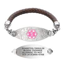 Divoti Custom Engraved Medical Alert Bracelets for Women, Stainless Steel Medical Bracelet, Medical ID Bracelet w/Free Engraving – Lovely Filigree Tag w/Brown Braided Leather – Color/Size