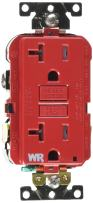 Leviton G5362-WTR 20A-125V Extra-Heavy Duty Industrial Grade Weather/Tamper-Resistant Duplex Self-Test GFCI Receptacle, Red, 20-Amp