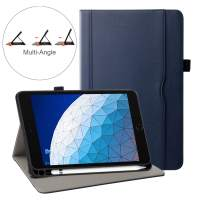 ZoneFoker New iPad Air 3 10.5 inch 2019 Tablet Leather Case with Pencil Holder, Auto Sleep/Wake Multi-Angle Viewing Folio Stand Cover Cases Also for Apple iPad Pro 10.5 - Blue