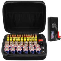 COMECASE Hard Battery Organizer Storage Box Carrying Case Bag - Holds 80 Batteries AA AAA C D - - with Battery Tester BT-168