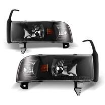 AUTOWIKI Headlights for 94-02 DODGE Ram 1500/2500/3500/4000 (NON SPORT) Pair Front Lamps Replacement Assembly Black Clear Head Light