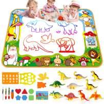 SmilePowo Aqua Magic Water Drawing Mat + 10 Dinosaur Toy Set (26 Pcs) ,Children Coloring Mat, Educational Toys for Kids Toddler Toy Mat, Painting Writing Pad Doodle Board,Aqua Magic Doodle Mat