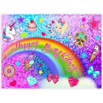 Allenjoy 8x6ft Colorful Glitter Rainbow Backdrop for Photography Birthday Party Pictures Unicorn Puppy Girls Princess Purple Blue Background Newborn Baby Shower Cake Smash Decoration Photo Booth Props